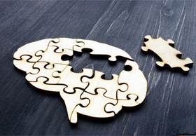 Puzzle in shape of brain