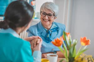 Woman with Alzheimer's smiling in Ithaca, NY